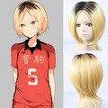 Высокое качество толщиной японский два тона короткие прямые черные блондинка ломбер парик haikyu! Kenma Kozume парики косплей синтетические волосы