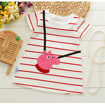 0-2Y Cute Baby Girsl Dress Summer 2017 Cartoon Pink Pig Short Sleeve Striped Dresses for Girls baby girls clothes
