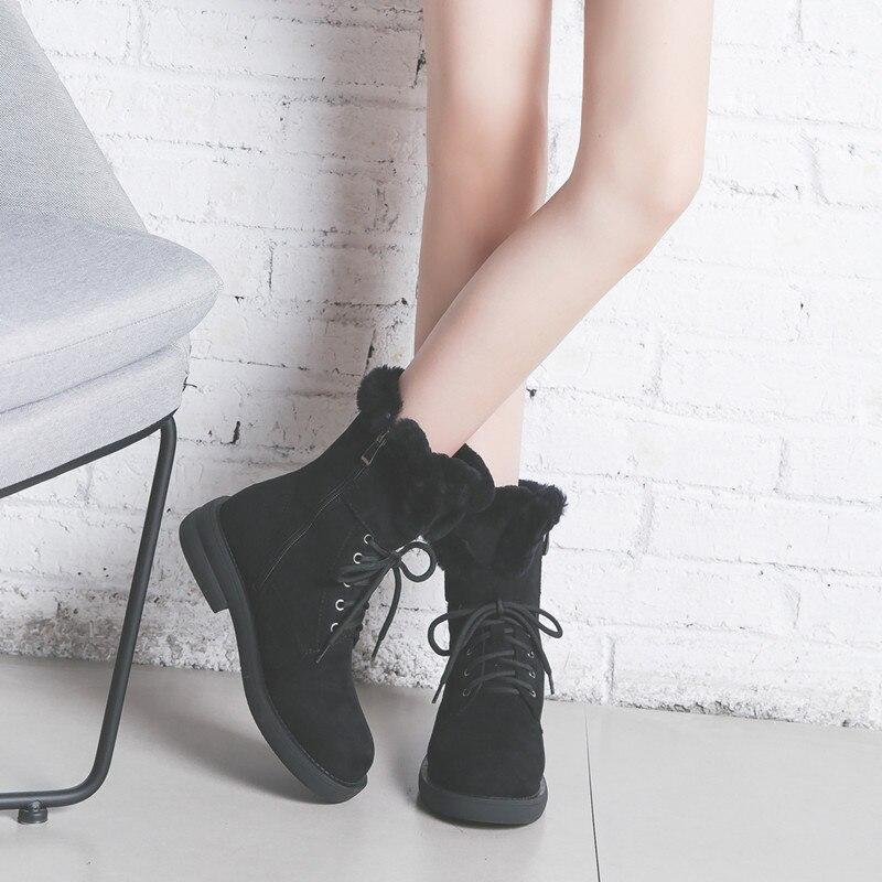 c95522d6af46bc Plus Mode Nude Coton Lacets Haute Bottes Chaussures Boot Talons Casual  Suede Velours Femmes black Femme Qualité D'hiver Faux De ...