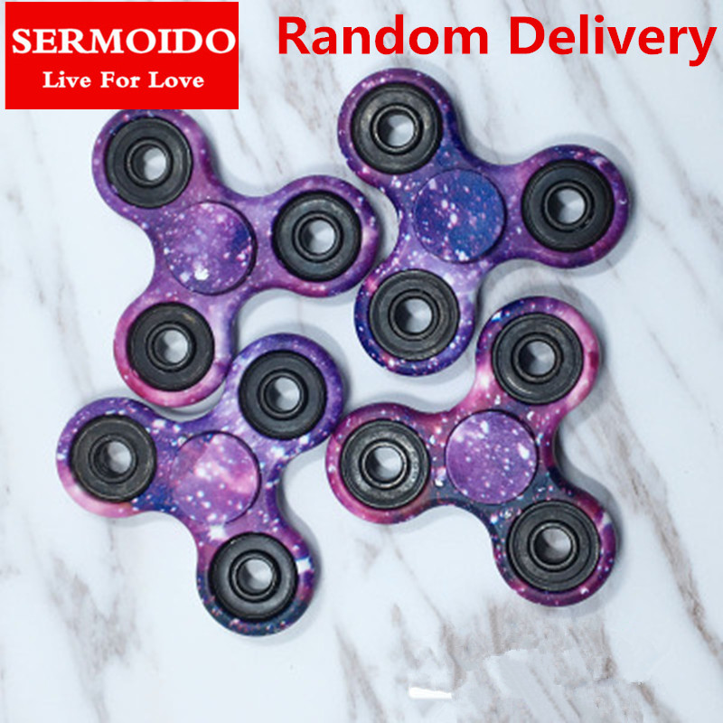 SERMOIDO 1PC Fidget Spinner EDC Spinner For Autism ADHD Anti Stress Tri-Spinner High Quality Adult Kids Funny Toys A79 infinity cube new style spinner fidget high quality anti stress mano metal kids finger toys luxury hot adult edc for adhd gifts