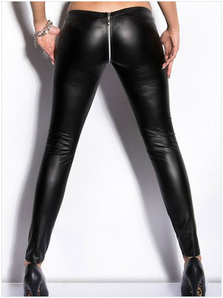 Lady Sexy Gothic Leggings Fashion Zipper Pant Night Bar Club Punk Legging Black Red Fake Leather Trousers