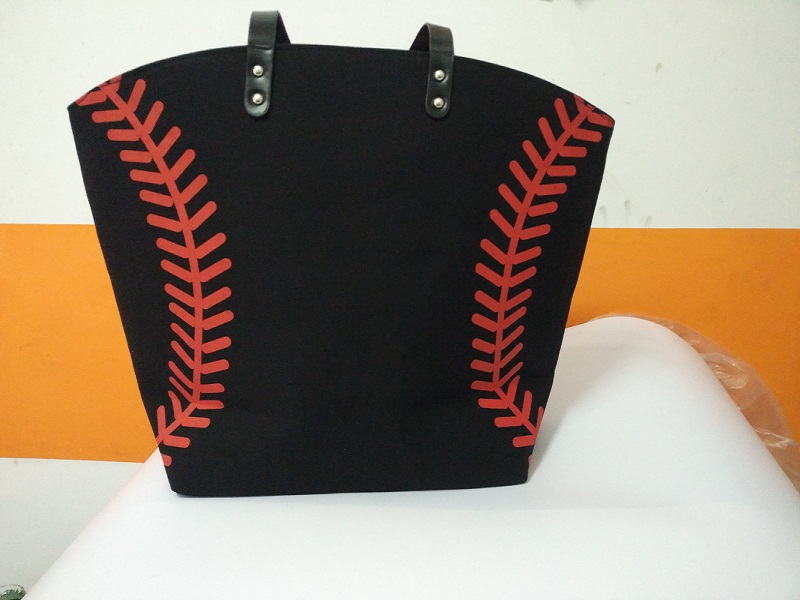 6pcs Black Yellow Softball White Baseball Jewelry Packaging Blanks Kids Cotton Canvas Sports Baseball Softball Tote Bag Traveling