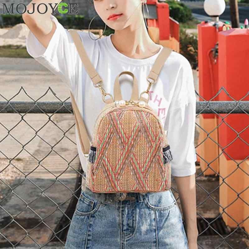 Модные соломенные тканые рюкзаки для женщин, летние рюкзаки для девочек-подростков, Качественные рюкзаки дорожные сумки, рюкзак для книг