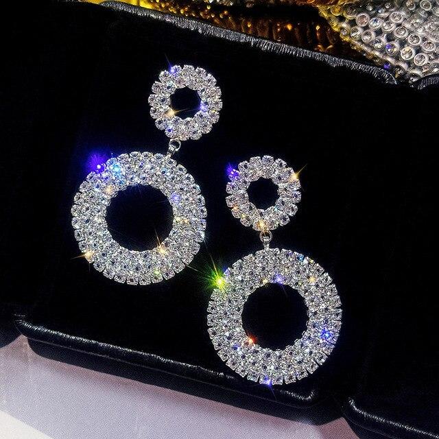 FYUAN новый кристалл Роскошные серьги Сияющий Золотой Круглый серебряного цвета Висячие серьги со стразами для Для женщин Свадебная вечеринка ювелирные изделия