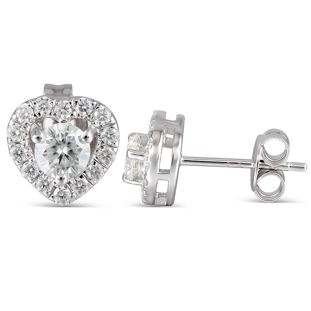 Genuine 10K White Gold Post 0.78CTW Center 4mm H Nearly Colorless Moissanite Halo Stud Earring Platinum Plated Silver Push Back 4mm center hole gold tone alloy 1 2 external threading insert chip
