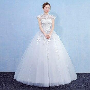Vintage Lace Applique Wedding Dresses 2020 Illusion Bride Bridal Dress Floor Length Ball Gown Vestido De Noiva Estilo Princesa