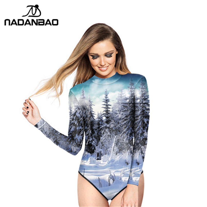 2017 New Design Loog Sleeve Zippered Surfing Bathing Suit Snow Deep Forest Printed Women Swimwear One Piece Swimsuit Y02024 mcat psychology and sociology review