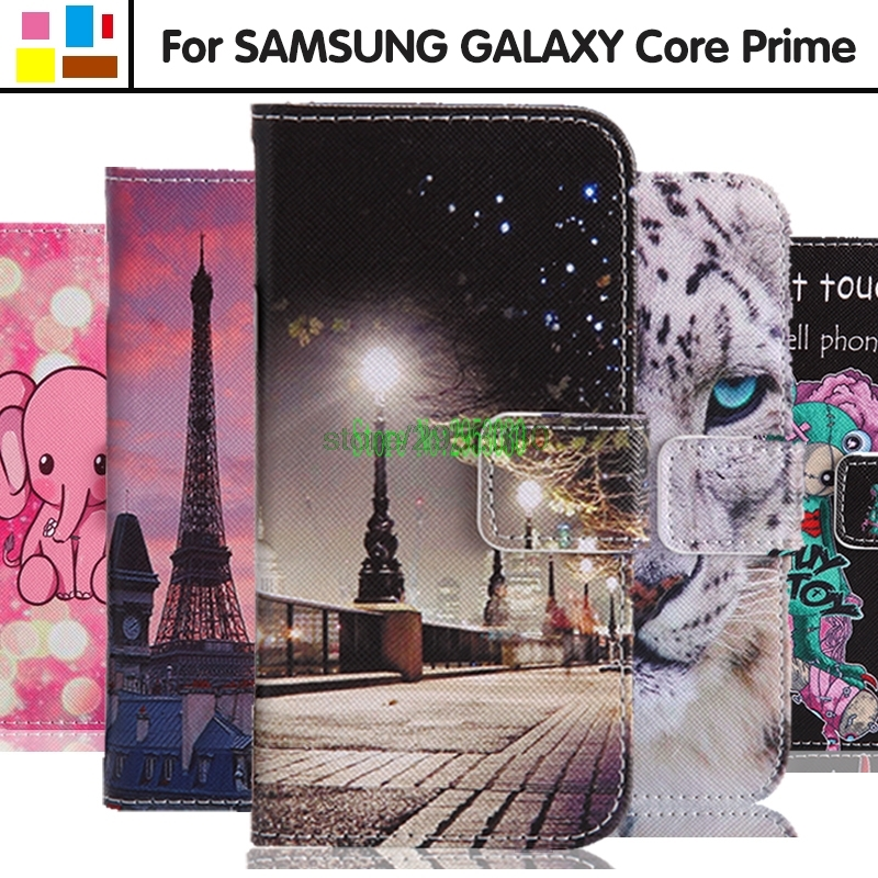 for <font><b>Samsung</b></font> <font><b>Galaxy</b></font> <font><b>Core</b></font> <font><b>Prime</b></font> G360F <font><b>G360H</b></font> <font><b>G360H</b></font>/DS G361F SM-<font><b>G360H</b></font>/DS SM-G360F SM-<font><b>G360H</b></font> SM-G361F Flip Leather Cover Phone Case image