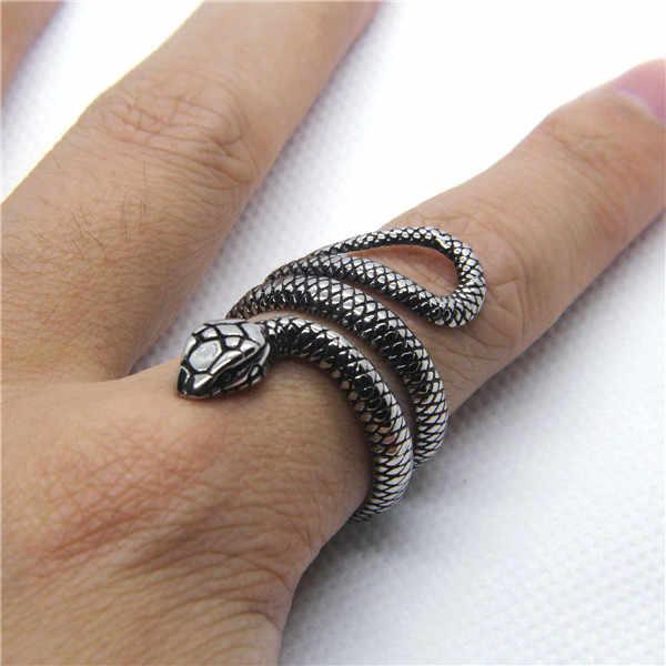 แฟชั่น Cobra แหวน 316L สแตนเลสสตรีสีเงินแหวนงู