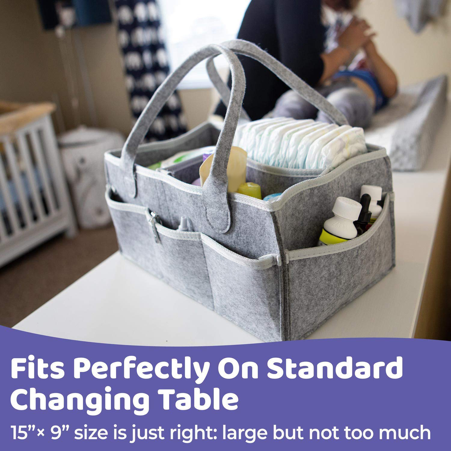 Baby Diaper Caddy Organizer Portable Holder Bag for Boys Girls Toys Portable Storage Bag Nursery Essentials Storage Bins for Changing Table and Car