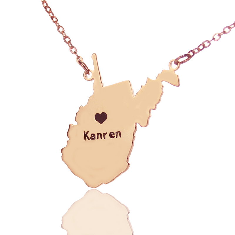 Custom West virginia State Shaped Necklaces Personalized USA State Map Necklaces Rose Go ...