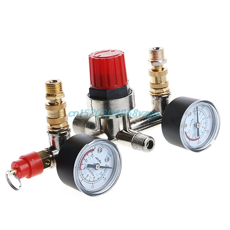 Air Compressor Pump Pressure Switch Control + Valve Gauges Regulator Hot #H028# air compressor pressure valve switch manifold relief regulator gauges 90 120 psi 240v 17x15 5x19 cm hot sale