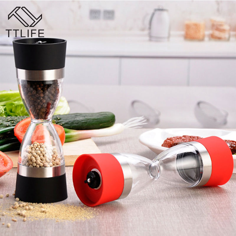 TTLIFE High Quality Stainless Steel Manual Salt Pepper Mill Grinder Grind 2 In 1 Ceramic Core