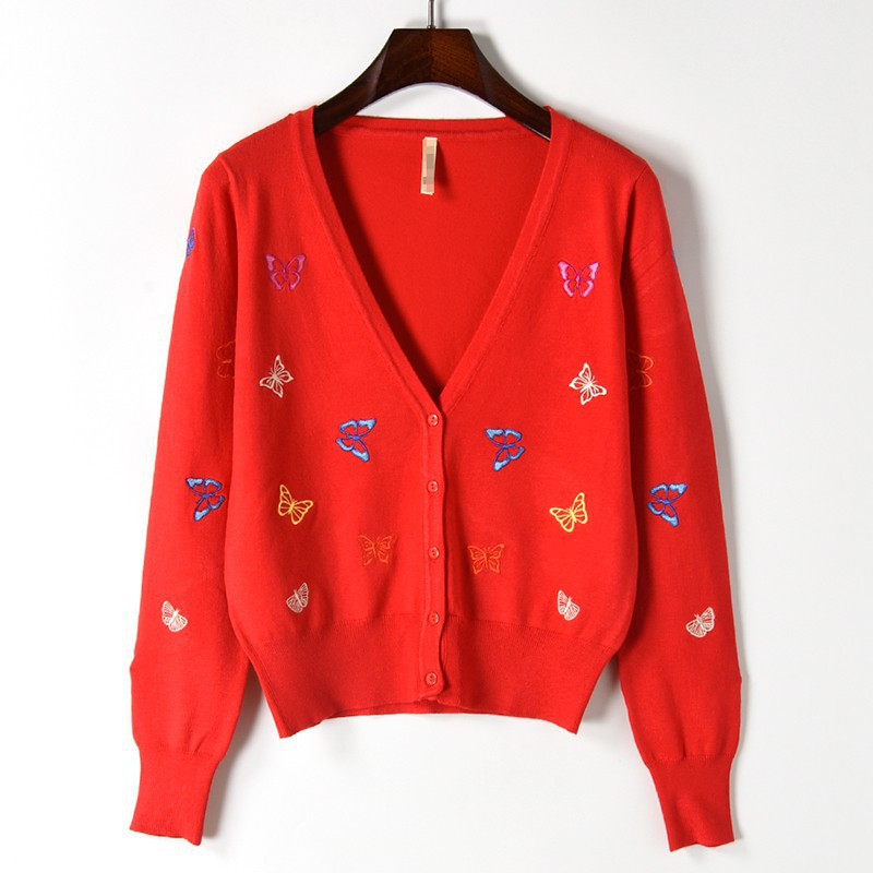 New Spring Autumn Knitted Sweater Cardigan Women Knitted Jacket slim butterfly embroidered Sweaters coat