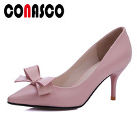 CONASCO Brand Design Classic Pumps Butterfly Knot Sweet Casual Office Shallow Shoes Woman Pointed Toe Genuine Leather Pumps