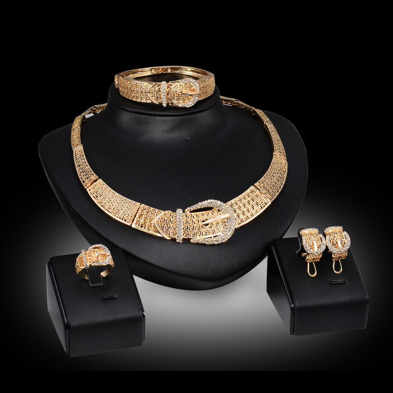 Fashion Dubai Gold Color Crystal Jewelry Sets Costume Jewelry Set