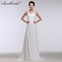 2016 New Sweetheart Beach Wedding Dresses Criss Cross Spaghetti Straps Pleated Chiffon Lace Bridal Gowns Vestido