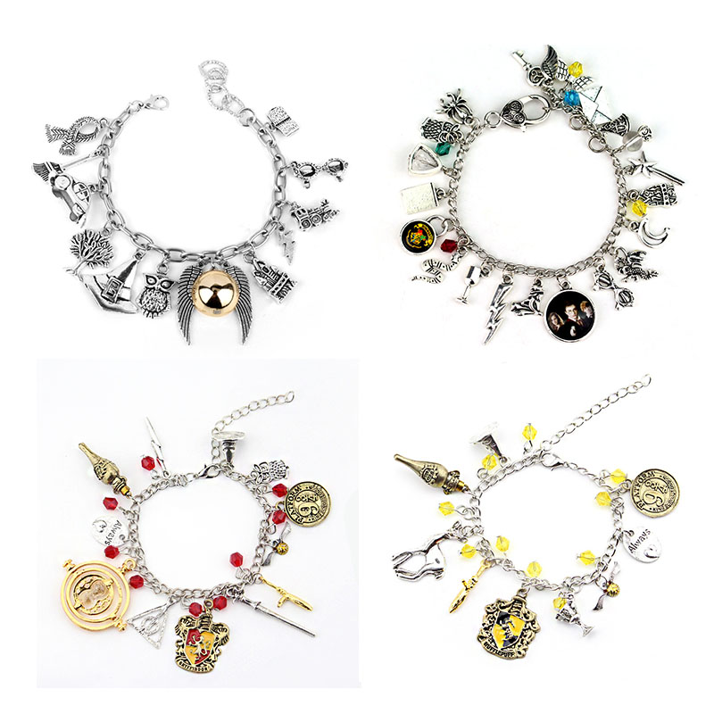 2019 Hot Toys Cute Potter Combination Jewellery Snitch Tine Turner Silver Plated Charm Bead Bracelet Pendants Kids Toy Gifts