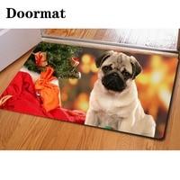Hugsidea spersonalizowane happy christmas tree szczenięta zapraszamy dywany niestandardowych drzwi dywaniki antypoślizgowe maty podłogowe dla extrance carpet