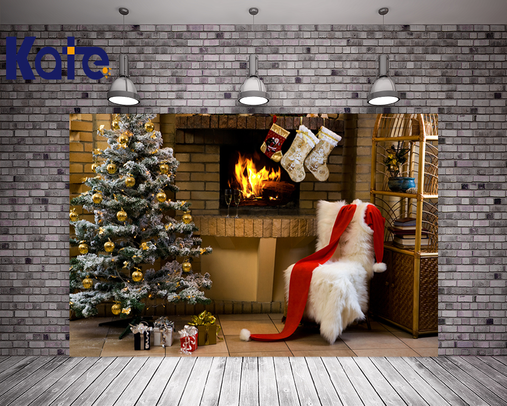 Kate Newborn Photography Background Brick Wall Fireplace Christmas Tree Backgrounds White Blanket For Baby Photo Studio kate background photography newborn baby white brick wall background rough old floor photography background studio