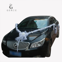 Genie Fashion Wedding Car Decoration Set Artificial Foam Rose Flowers Tulle Bows With Pearls DIY Wreath