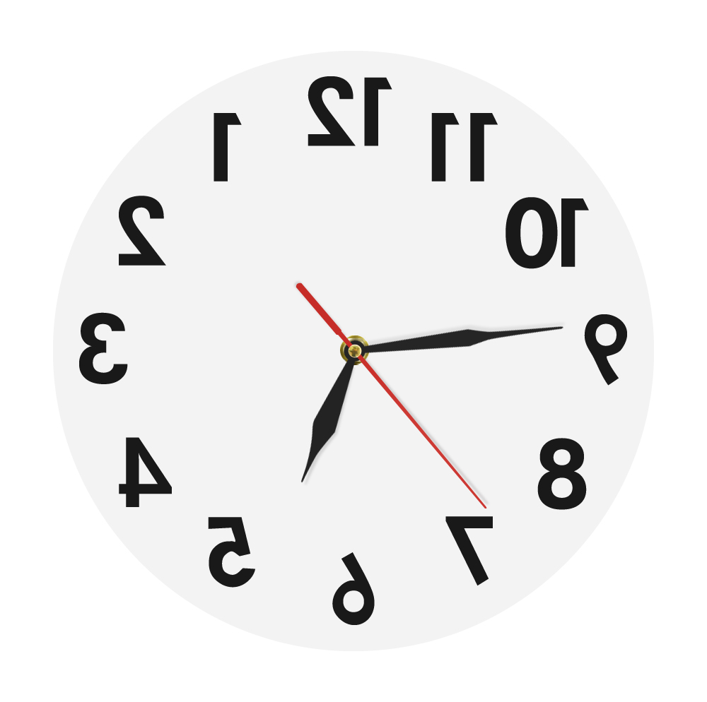 Reverse Wall Clock Unusual Numbers Backwards Modern Decorative Clock Watch Excellent Timepiece For Your Wall