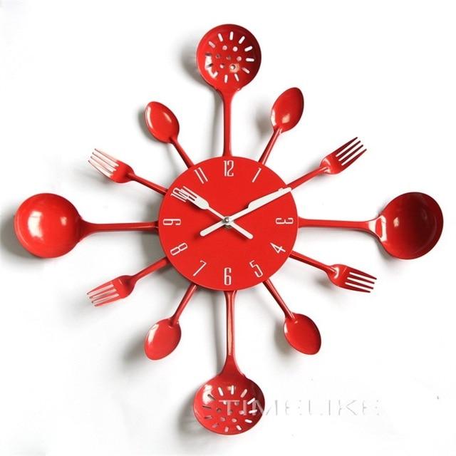 US $19.79 |Posate Da Cucina di Design In Metallo Orologio Da Parete  Colorato con il Cucchiaio Forchetta Orologio Da Parete per la Decorazione  Horloge ...