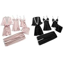 Womens Plus Size Summer Faux Silk 5 Piece Pajamas Set Crochet Floral Lace Applique Trim Sleepwear Solid Color Nightgown Babydoll все цены