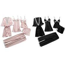 Womens Plus Size Summer Faux Silk 5 Piece Pajamas Set Croche