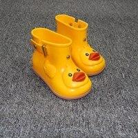 Kids Cute Duck Rain Boots Boys Girls Cartoon Jelly Shoes 2017 Children S Waterproof Shoe Candy