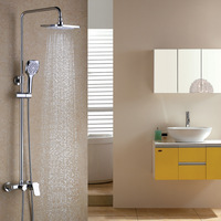 NEW Chrome Polished Best Solid brass Bathroom Tub Shower Faucet Unit 8 inch Rainfall Shower Head with Handheld Spray with shelf
