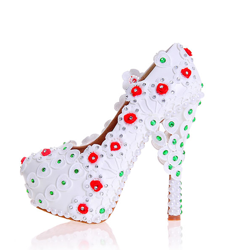 Women Wedding Shoes White Lace Red Flowers Crystal Decor Bridal Party Pearl Pumps Round Toe Super High Heel Lady Rinestone Shoes spring summer new women red heart rivet pearl tassel high heel wedding shoes crystal casual nightclub party pumps shoes b