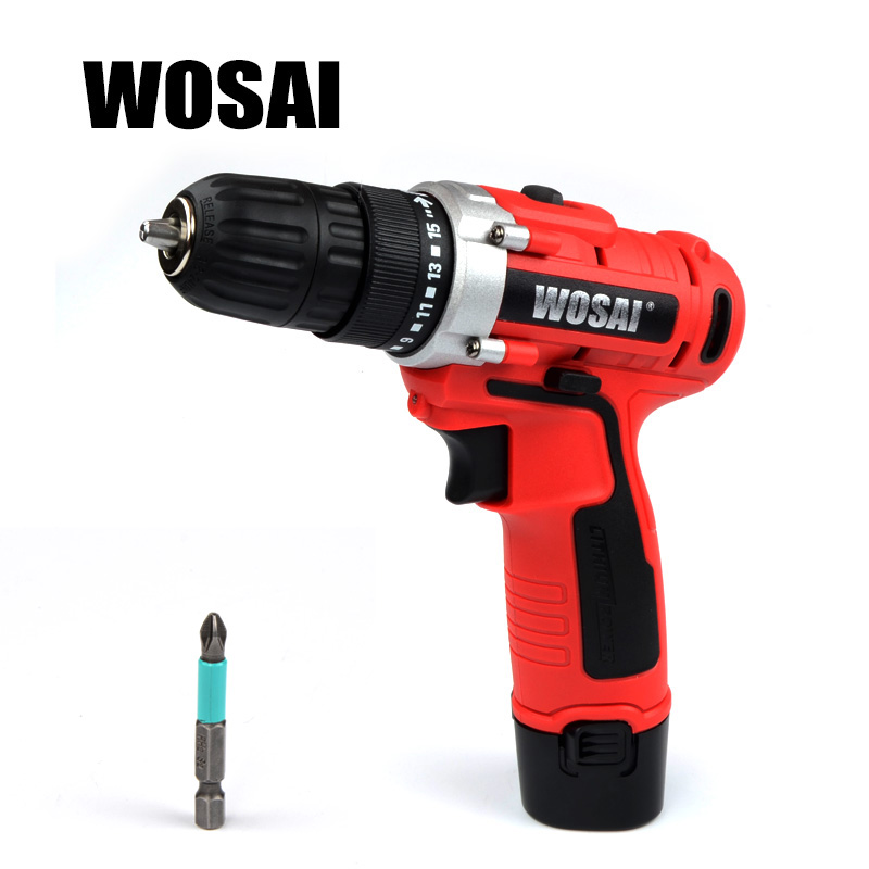 WOSAI 12V DC Household Lithium-Ion Battery Cordless Drill Driver Power Tools Electric Drill 18v dc lithium ion battery cordless drill driver power tools screwdriver electric drill with battery included