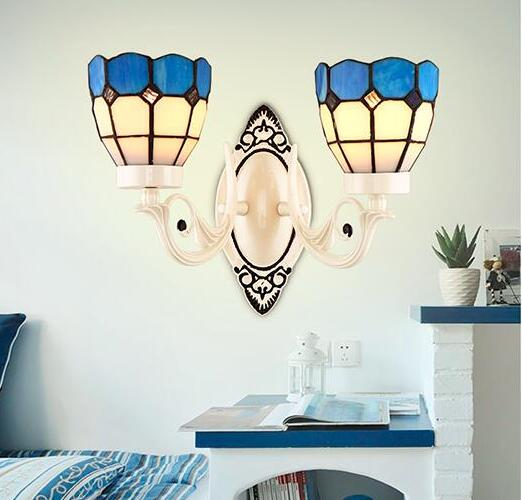 Nordic Style Tiffany Stained Glass Single Head & Double Head LED Wall Lamps Wall Lamps E ...