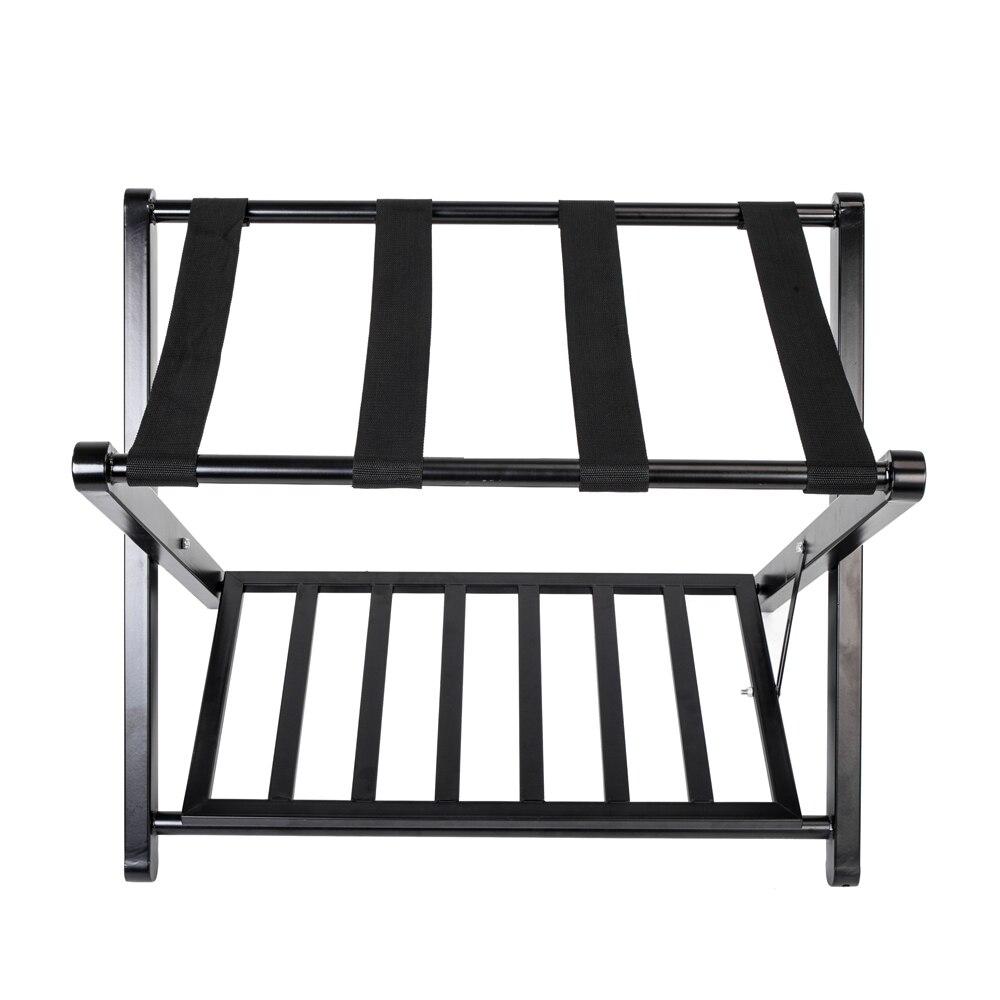 68 40 8 51cm Portable Folding Luggage Rack With Shelf Wood