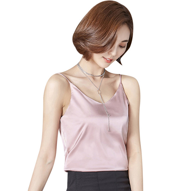 1b83aca6b82 2018 Summer Spaghetti Strap Silk Tank Tops Sexy V Neck For Women Shirt Satin  Cami Top Backless Singlet Undershirt Camisole Femme