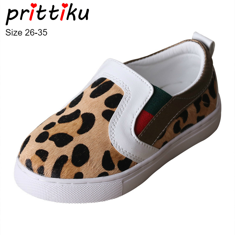 цена на Autumn 2018 Boys Girls Leopard Genuine Leather Casual Sneakers Toddler/Little/Big Kid Loafers Trainers Children Skate Flat Shoes