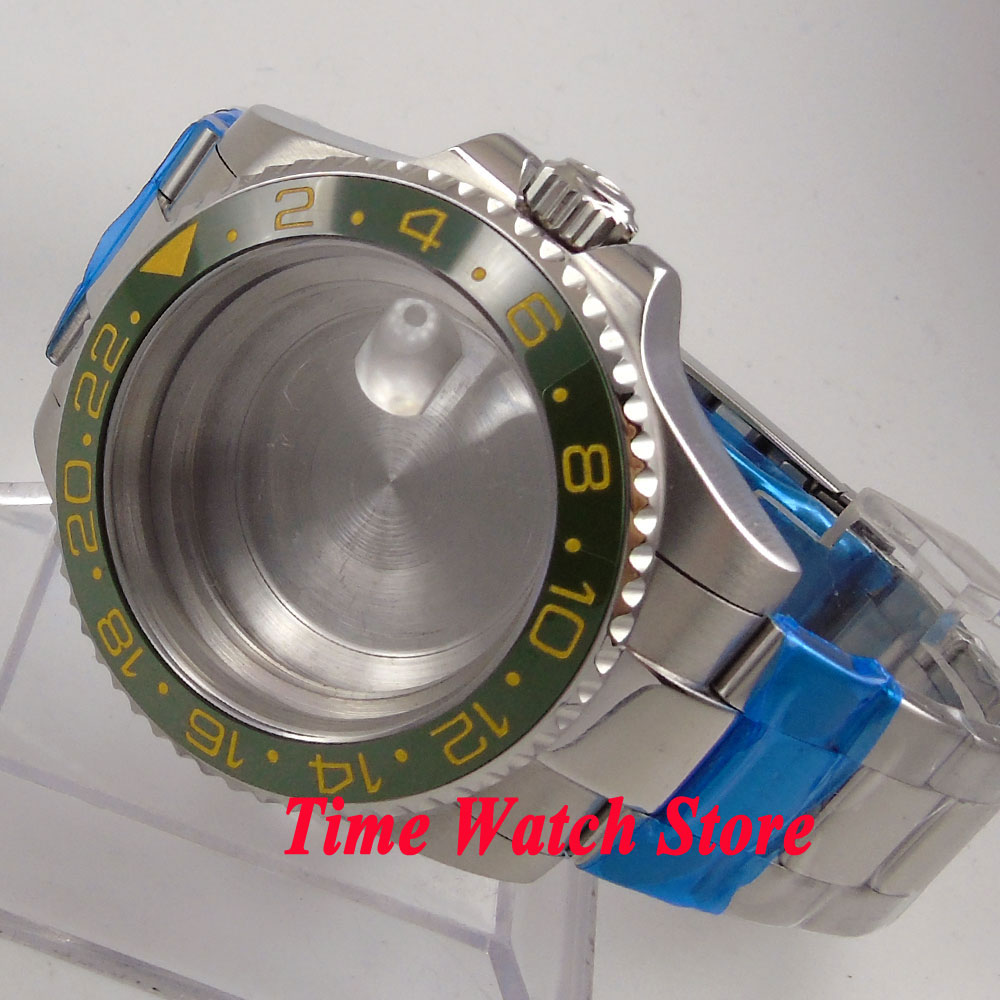 лучшая цена Fit ETA 2824 2836 movement 40mm sapphire glass 316L stainless steel watch case with bracelet 126