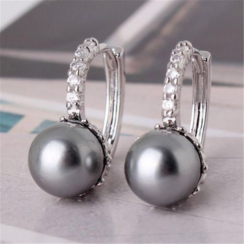 Женские серьги-кольца с искусственным жемчугом, серебряного цвета