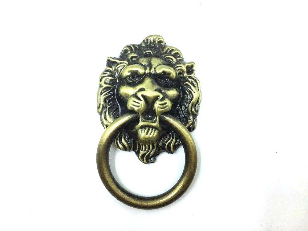 Antique Bronze Lion Head Design Drawer Ring Pull Kitchen Cabinet knob Drawer Handle Knob Lion Head Door Knocker Cabinet Knob