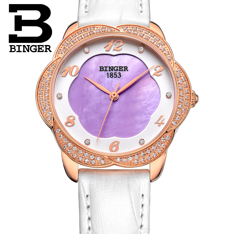 Relogio Feminino Quartz Watch Fashion Watch Women Luxury Brand BINGER Leather Strap Watches Ladies Wristwatch Relojes Mujer 2016 relojes mujer classic new fashion casual watches women dress quartz watch mickey hollow dial leather wristwatch relogio feminino