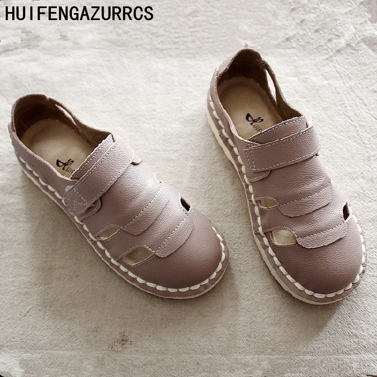 HUIFENGAZURRCS New style pure handmade real leather shoes the retro art mori girl soft women s