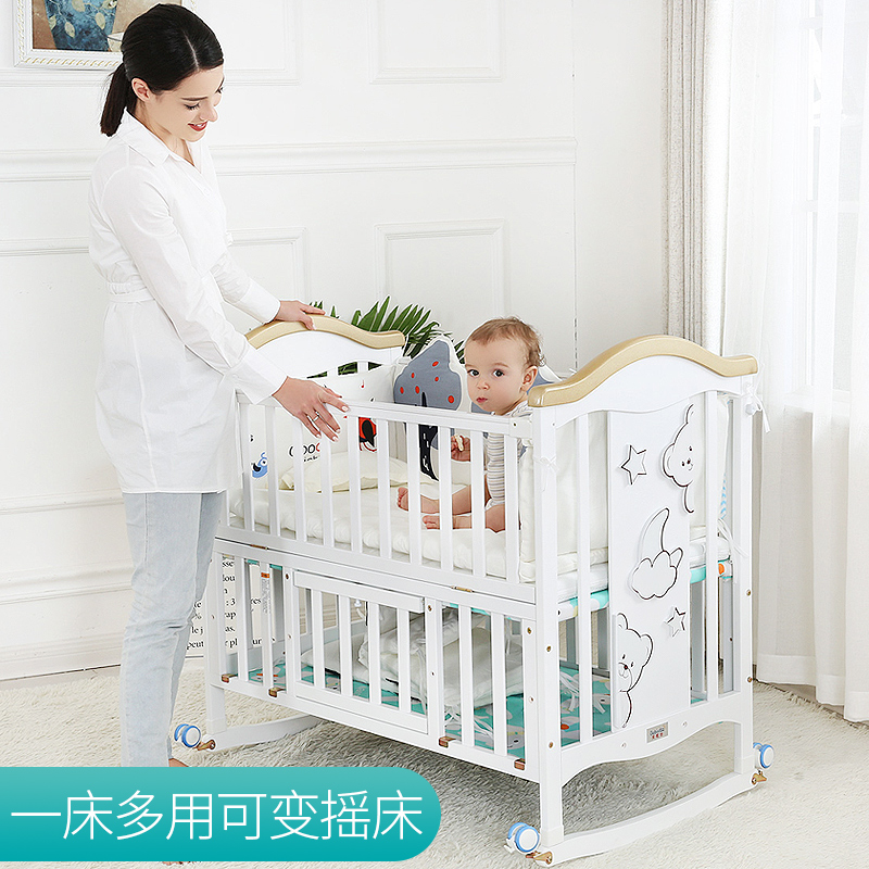 Joint parents lit 0-6 ans bébé lit en bois massif européen multifonctionnel blanc bébé Bb berceau lit deux couches enfants lit - 3