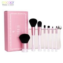 hot deal buy 7pcs makeup tools kit pink and white makeup brushes with bag and nice gift box professional makeup brush set
