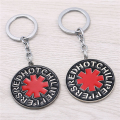 JM Hot Sale Rock Music Band Eed Hot Chili Peppers Round Alloy Keychain Women & Men Jewelry Key Ring Holder Chaveiro