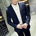 2016 primavera mais recente projeto impressão xadrez turn down slim fit estilo coreano manga comprida dos homens blazers Jacket casual homem se adapte casaco