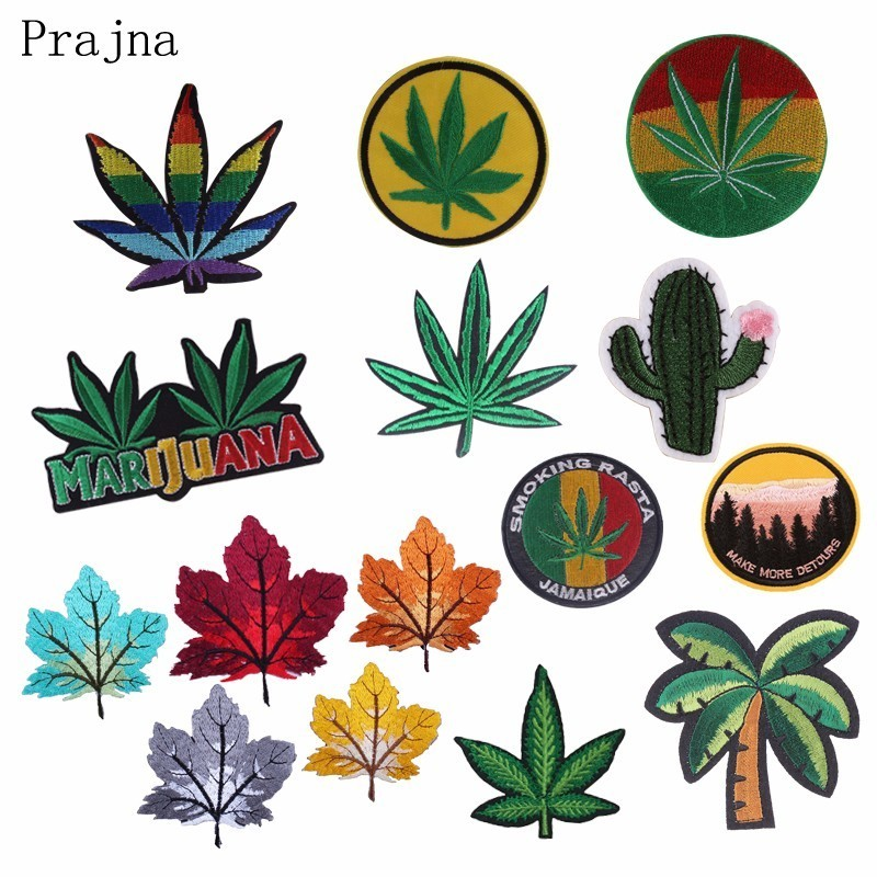 Prajna Green Cactus Embroidered Patches For Clothing Embroidery Patch Iron On Patches On Clothes Maple Leaf Badge Stripe Sticker