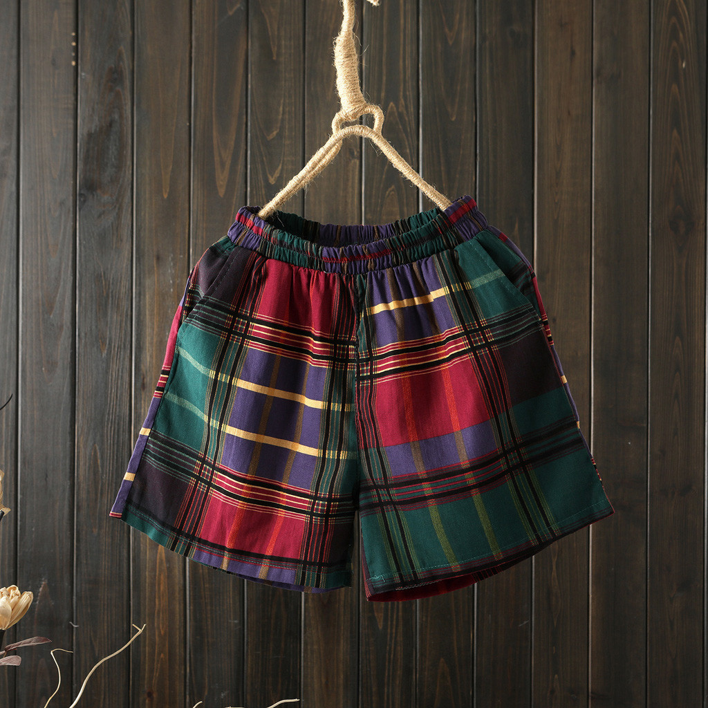 Pocket-Shorts Pantalones Linen Print Casual Summer Korean Cotton Trend Loose High Avant-Garde