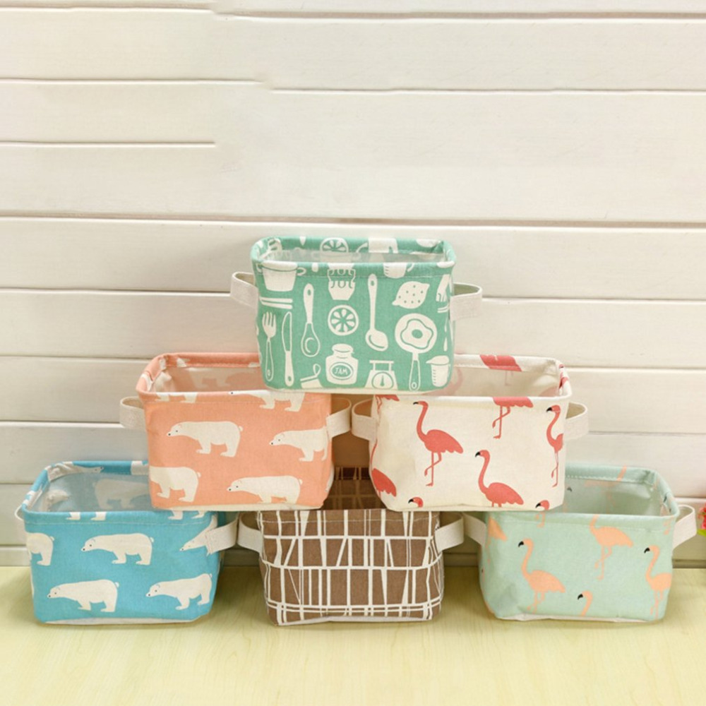 6 colors Fabric Storage Basket Box Useful Home Supplies Sundries Container Holder Household Desktop Jewelry Makeup Organizer