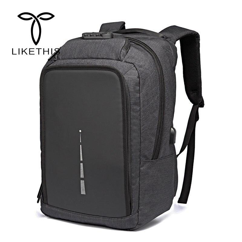 Imperméable à l'eau grande capacité 15.6 pouces pochette d'ordinateur homme USB Design sac à dos sac à dos noir femmes sacs d'école Mochila Masculina